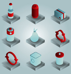 garbage color gradient isometric icons vector image