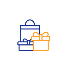 gift boxes line icon present sign vector image
