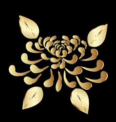 Gold plant lotus flower on black background vector