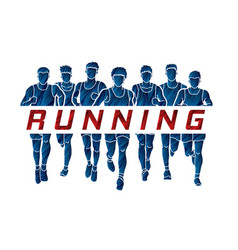 Group of men running with text running vector