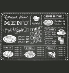 grunge chalkboard restaurant menu template vector image