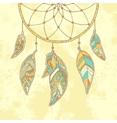 Hand drawn Dreamcatcher on textured paper vector