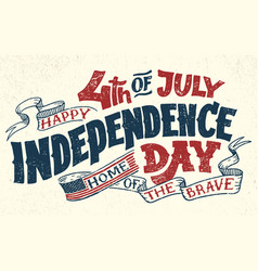 Happy fourth of july hand lettering greeting card vector