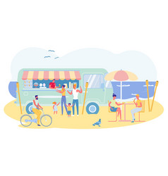Have nice rest at seaside in summer cafe slide vector
