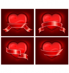 hearts with ribbom on red vector image