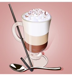 iced coffee in a glass with a straw vector image