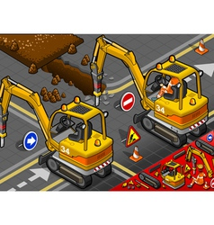 Isometric mini chisel excavator in rear view vector