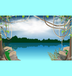 Landscape river in jungle vector