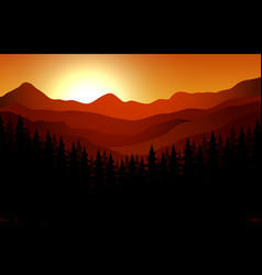 landscapes sunset view at mountain peaks vector image