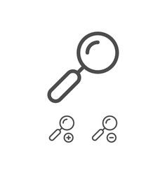 magnifying glass zoom in zoom out line icons vector image