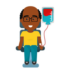 Man donating blood with glasses vector