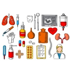 Medical items and medicines sketch icons vector