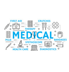 Medicine banner with health care thin line icon vector