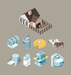 milk food factory dairy healthy farm products vector image