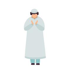 muslim man standing and praying man communicating vector image
