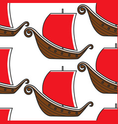 norwegian ancient warship vikings sailboat vector image