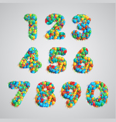 number set made by colorful balloons vector image