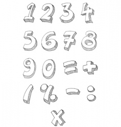 numbers hand written vector image