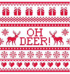 Oh deer red pattern christmas seamless design wi vector