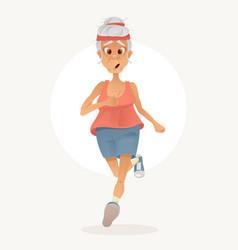 old sporty happy grandma character run vector image