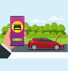 Online roadside assistance automobile repair vector