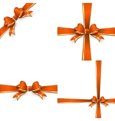 Orange gold bow templates EPS 10 vector image