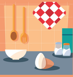 pastry ingredients with dish kitchen scene vector image