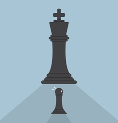 Pawn chess afraid of king chess vector image
