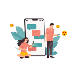 phone chat cartoon man and woman exchange vector image