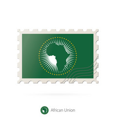 Postage stamp with image african union flag vector
