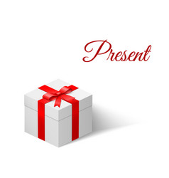 present white box with a bow tied with ribbon vector image