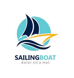 Sailing boat abstract logo vector