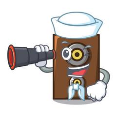 Sailor with binocular speaker mascot cartoon style vector