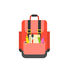 school bag icon and school supplies flat design vector image