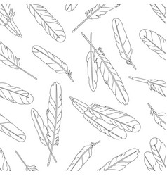 seamless pattern with feathers on white background vector image