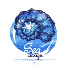 Seashell banner Sea nautical design vector