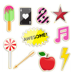 Set cute stickers and different elements vector
