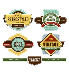 set grunge retro badges vector image