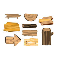 set of wooden sign boards planks logs wooden vector image