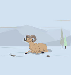 sheep lies in the mountains vector image