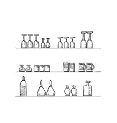 Shelves with glasses vector