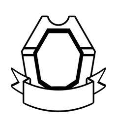 shield decoration trendy ribbon outline empty vector image