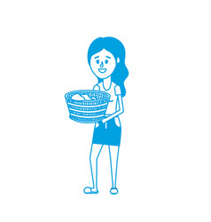 Silhouette woman with hairstyle and basket in the vector