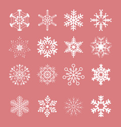 snowflake winter set white isolated vector image