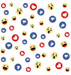social media face reaction emojis background vector image