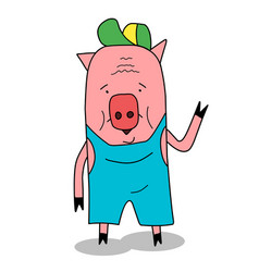 stock funny pig in cap vector image