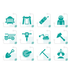 stylized mining and quarrying industry objects vector image