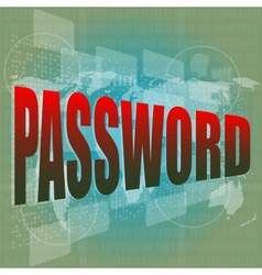 The word password on digital screen business vector image