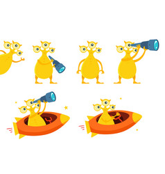 Three-eyed yellow alien ufo character set with vector