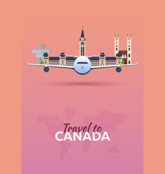 travel to canada airplane with attractions vector image